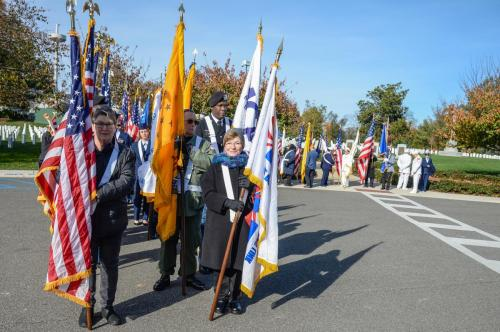 Flag Bearers Robbie Thomas and Anita LaSpina join in National Color Guard Processional
